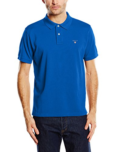GANT Herren Poloshirt The Original Pique SS Rugger, Blau (Nautical Blue 422), Small (Klassische Formale Shirt Ausgestattet)