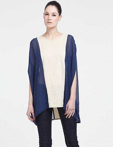 GSP-ZIGZAG lunga Smock in chiffon manica maglia , cyan-one-size , cyan-one-size