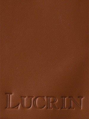 Lucrin - Quadratischer Kosmetiktuchbehälter - Weiss - Glattleder Cognac
