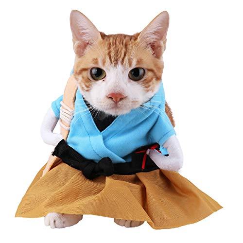 dPois Haustier Kleidung Lustige Katze Hund Kostüm Urashima Taro Uniform Traditionelle japanische Kostüm Anzug Pet Supplies Welpen Dressing Anzug Party Cosplay Himmelblau & Braun XL (Lustige Japanische Kostüm)