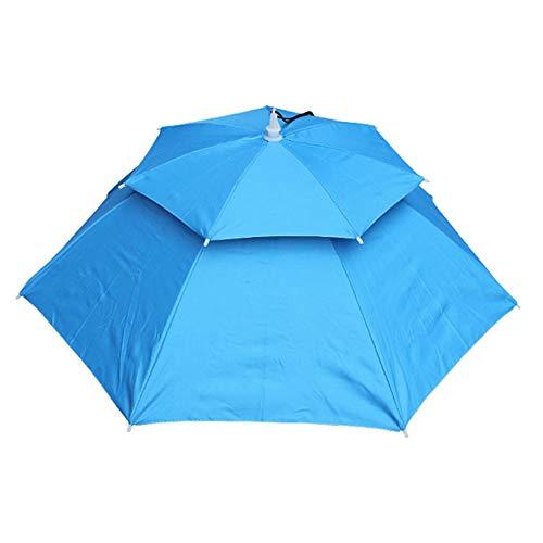 ZREAL Faltbare Angeln Hut Headwear Regenschirm Doppelschicht Winddicht Kappe für Angeln Wandern Camping