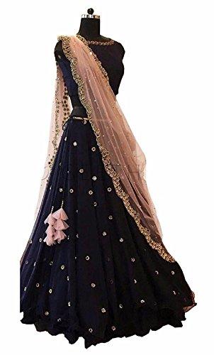 Women's Net Semi-Stitched Lehenga Choli (blue_Free Size)