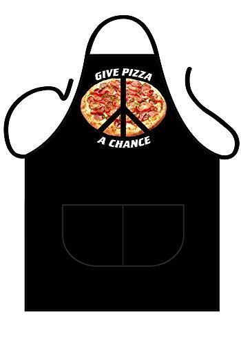 Iconic Schürzen Pizza eine Chance geben Schürze, Polyester-, Mehrfarbig, 90x 69x 0,1cm