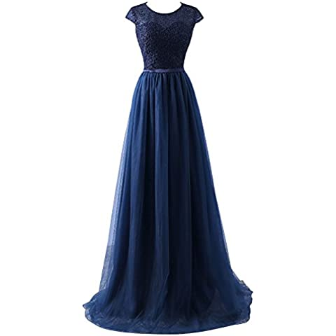 YipGrace Donna Tulle Eleganti Lunghi Ball Gown Abito In Pizzo Blu M