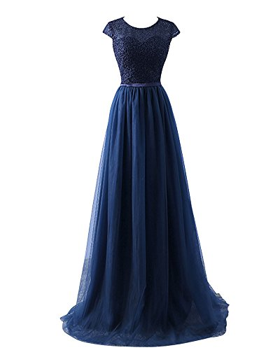 Yipgrace donna tulle eleganti lunghi ball gown abito in pizzo blu s