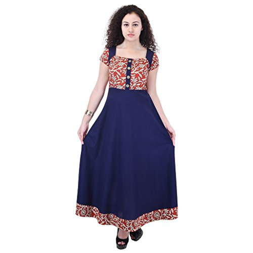 Beautiful Cotton Printed Blue&Brown Color Kurti