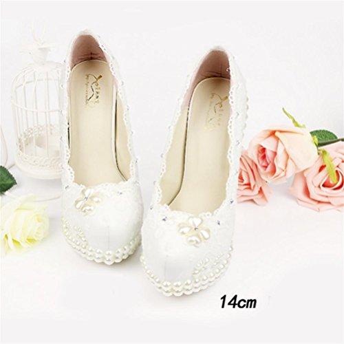 QPYC Scarpe da sposa con strass per donna, scarpe da sposa, scarpe da damigella, scarpe da sposa, strass, scarpe da sposa, strass, scarpe da sposa 14cm