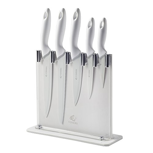 Viners Silhouette Knife Block Set Gift Box, White, 6-Piece