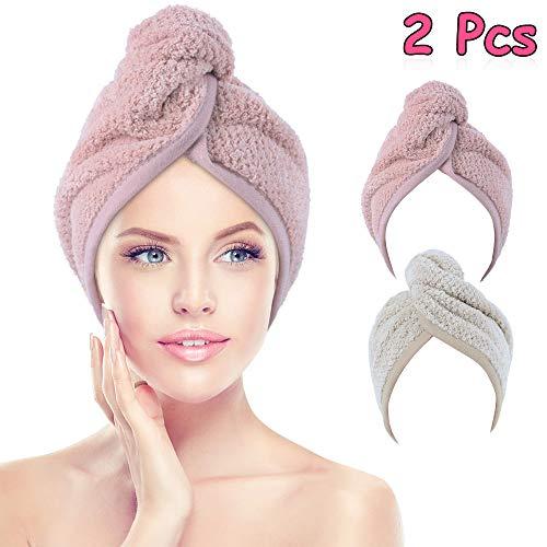 Haarturban Mikrofaser, Vegena 2 Stück Turban Haartrockentuch Wrap Handtuch Kopftuch Schnelltrocknend mit Knopf für Frauen Mädchen, 65 x 25 cm