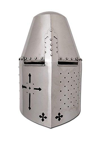 Battle-Merchant Grosser Topfhelm mit Kreuzausschnitt, 1,6 mm Stahl - schaukampftauglich - Kreuzritter - Helm - (Schwerpunkt Kostüm)