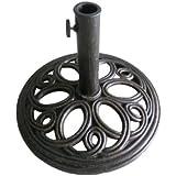 Pied de parasol rond en fonte pour patio et jardin - couleur bronze - 12 kg