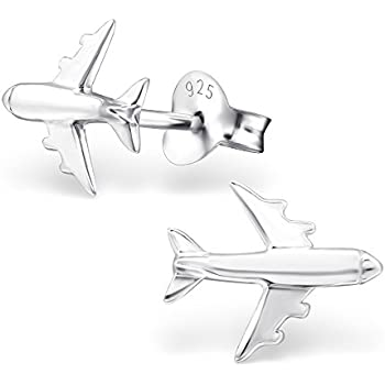 3792f175d The Rose & Silver Company Women 925 Sterling Silver Airplane Stud Earrings  RS0300