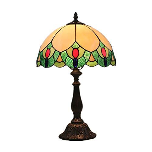 12 Zoll Tiffany Stil Tischlampe Glasmalerei Perlen Schatten Schreibtischlampe einfach neben Schreibtischlampe Antik Wohnzimmer Schlafzimmer Dekor Lampe