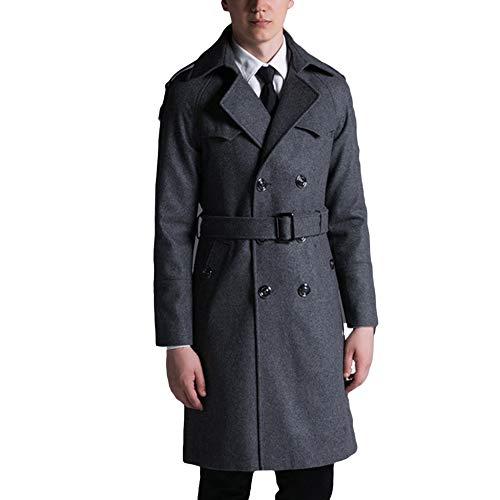 MERRYHE Wolle Trenchcoat Für Herren Zweireiher Great Coat Woolen Lange Jacken Warm Military Mäntel Mit Gürtel,Grey-3XL(Bust/120cm)