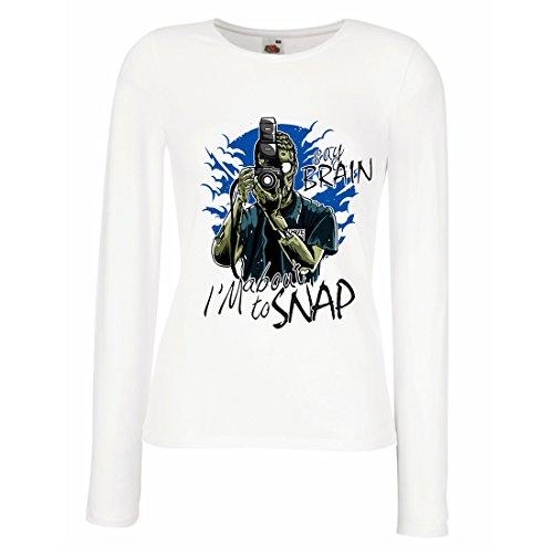 Weibliche Langen Ärmeln T-Shirt Zombie-Fotograf, Journalisten Bekleidung, Fotografie-Experten, Humorvolles Geschenk (Large Weiß Mehrfarben) (Liebe Zombies, Lange Ärmel)