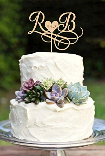 Tortenaufsatz für Hochzeitstorte mit Initiale und Monogramm für Hochzeiten, aus Holz