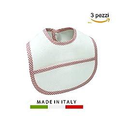 Idea Regalo - Bavaglini Neonato Impermeabili da Ricamare Punto Croce Tasca in Tela Aida MADE IN ITALY Cotone Plastificati Assorbenti con Velcro per Rigurgito, Dentizione 0-12 Mesi Femmina 3 PZ Rosa Arancione Rosso