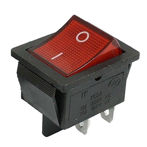 Heschen Interrupteur à bascule ON//OFF Dpst On-Off 4 bornes lumière rouge 16...