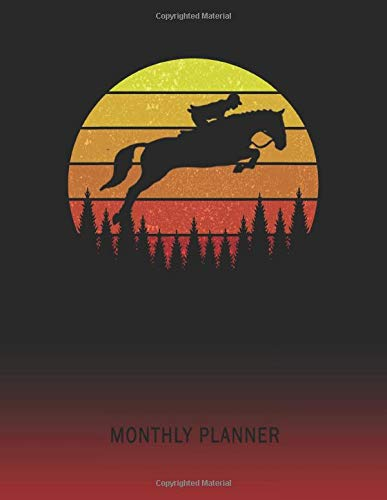 Monthly Planner: Horse | 2 Year Planning for Jan 2020 to Dec 2021 | Retro Vintage Sunset Cover | January 20 - December 21 | Planning Organizer Writing ... | Plan Days, Set Goals & Get Stuff Done -