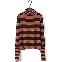 SZYL-Sweater Las mujeres de Europa y Estados Unidos mangas de cuello alto de manga larga a rayas pelea color suéter flojo suéter de las mujeres, color caramelo, todo el código
