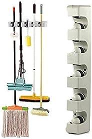 5 Position 6 Hooks Wall Mounted Mop Broom Holder Hanger Kitchen Shelf Storage Holder Garage Storage