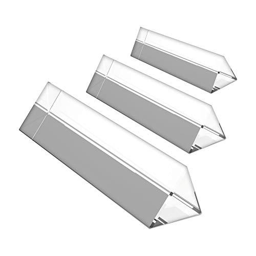 BELLE VOUS 3 teiliges Kristallprisma Set - Kristall optisches Glas Dreieckiges Glas Prisma - Längen 15,10,6cm mit Geschenkbox - Prisma zum Unterrichten von Lichtspektrum Physik, Prisma Fotografie