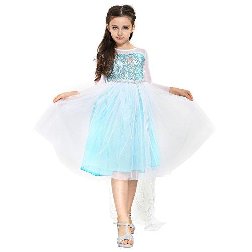 nzessin Königin Elsa Mädchen Ball Langarm-Festkleid Kinder-Kostüm mit Tüll-Rock - Disney-inspiriert mit Glitzer, Schleier - Verkleidung zu Karneval, Weihnachten - 104/110 Weiß/Blau ()