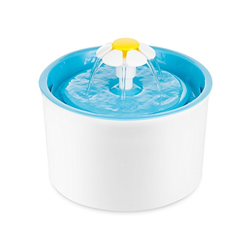 ParaCity Pet Water Fountain Flower Style Automatic Electric Pet Drinking Fountain 1.6 L Dog Cat Drinking Bowl(Blue)