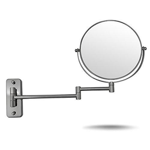 amztolife 5 x Nickel Finish Wand montiert Make Up Spiegel 20,3 cm Kosmetik DOUBLES Seiten klappbar und höhenverstellbar Shaving Badezimmer Spiegel - Weihnachten Geschenk für die Familie Wand-montiert Beleuchtung