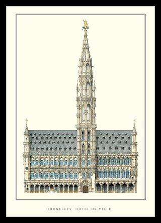 Jan van Ruysbroeck Brüssel Hotel de Ville Architektur Plakat Poster Kunstdruck Bild im Alu Rahmen...