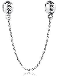 Love Chaîne de sécurité en argent sterling 925 pour bracelets de type Pandora
