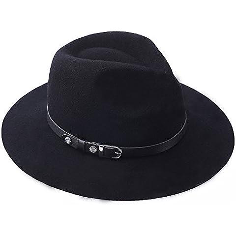 MEICHEN-Europe Spring gorro de lana señoras británico de jazz Hat Hat color sólido accesorios de cuero auténtico sombrero, negro
