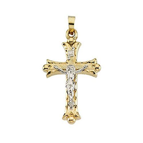 Icecarats Designer Jewelry Giallo/Oro bianco 14K Bicolore Crocifisso Ciondolo 25.00x 18,00mm