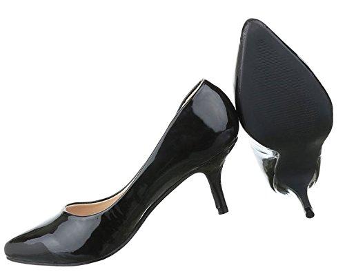 Damen Pumps Schuhe High Heels Klassische Stiletto Rot Schwarz 36 37 38 39 40 41 Schwarz