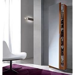 Habitdesign 007866C - Armario zapatero con espejo, color Castaño, medidas: 180 x 50 x 20 cm de fondo