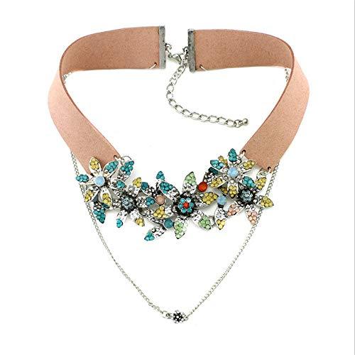 Anmutige Mode Halskette Bunter Blumen-Kristall-PU-falscher Kragen-Anhänger-Entwurfs-Halsband-Dame Costum Aussage-Halsketten-Abend-Kleid, das zusammenpaßt Schmuck für Frauen ( Farbe : Rosa )