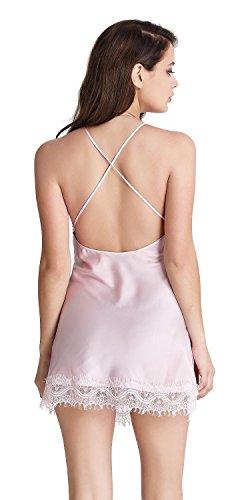 Aibrou chemise de nuit femme romantique nuisette satin et dentelle très sexy V profond Sling pink