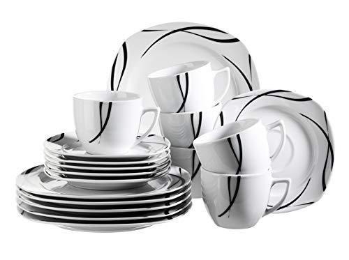 Schwarz, Weiß, Kaffee (Mäser 920672 Serie Oslo, 18-teiliges Kaffeeservice für 6 Personen, Frühstücks-Geschirr, klassisch, zeitlos, elegant, Porzellan, schwarz-weiß)