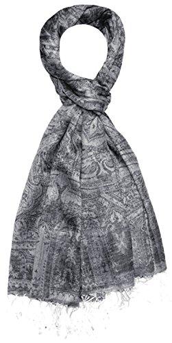 LORENZO CANA Herren Schal Schaltuch hochwertig kuschelweich und leicht 70 x 180 cm opulentes Paisley Muster aufwändig gewebt 7825211 (Paisley Woll-rock)