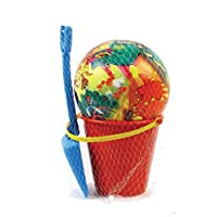 Beach Set Unisex Round Bucket with 27cm Spade & 14cm Inflated ball VARIOUS DESIGNS