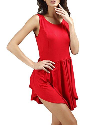 Mini robe sans manches courtes pour femme cocktaikleid robe de soirée Rouge - Rouge