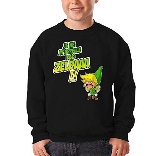 OKIWOKI Pull Enfant Noir Zelda parodique Link : Un Coup de Gueule de héros. (Parodie Zelda)