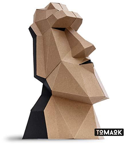 MODERN 3D PUZZLE Moai-Statue Kit Papierskulptur umweltfreundliches Kraftpapier 100% recycelt zum Zusammenbauen für die Dekoration DIY PAPERCRAFT Low Poly Montage Papier Skulptur - TOMAOK