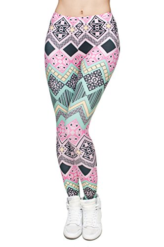 Femmes Mesdames Leggings Longueur complet extensible Collants Pantalon pour ne pas voir à travers Fitness Yoga Running Hipster UK 8 10 12 Multicolore - AZTEC PINK