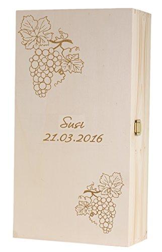 Feiner-Tropfen Geschenkbox Geschenkkiste Holz mit Gravur Weinreben Weinkiste