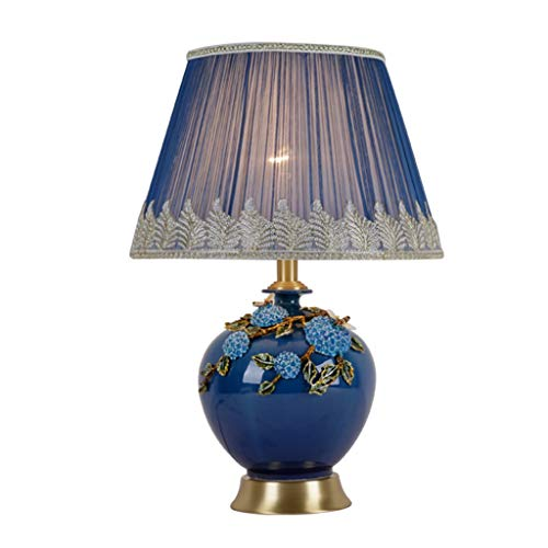 Lampes de table Américain Simple en Céramique Cuivre Salon Etude Chambre Lampe De Chevet Chaude (Color : Blue, Size : 36 * 54cm)