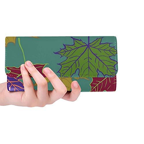Einzigartige benutzerdefinierte Herbst Cartoon Blatt Herbst blätter Frauen Trifold Brieftasche Lange geldbörse kreditkarteninhaber Fall Handtasche