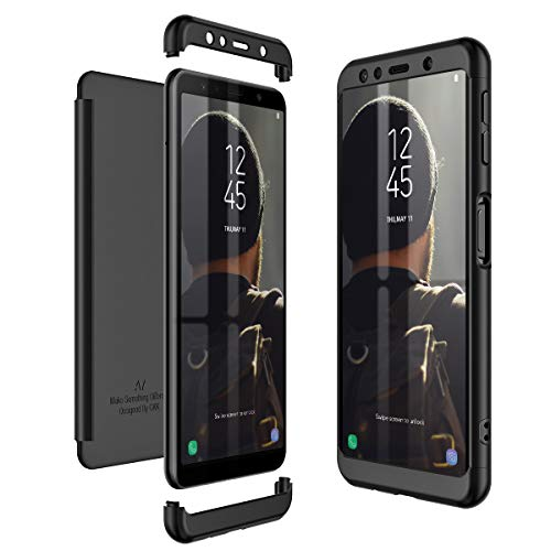 CE-Link Kompatibel mit Samsung Galaxy A7 2018 Hülle Hardcase 3 in 1 Handyhülle 360 Grad Schutz Ultra Dünn Slim Hard Full Body Case Cover Backcover Schutzhülle Bumper - Schwarz