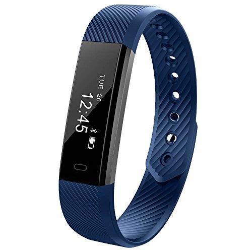 HolyHigh Fitness armband YG3 Activity Tracker Armband Schrittzähler Kabellose  Schritte Entfernung Sleep Kalorien ausgeschnittenem Touch Bildschirm Call Nachricht Reminder für Android und IOS(Blau)