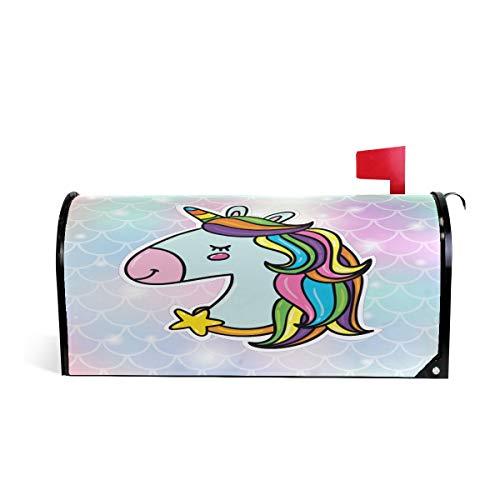 CPYang - Funda magnética para buzón de Correo, diseño de Unicornio con Escamas de pez